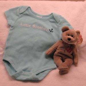 "GYMBOREE 1-piece ""Little Brother"" + Ty 1999 Bear"